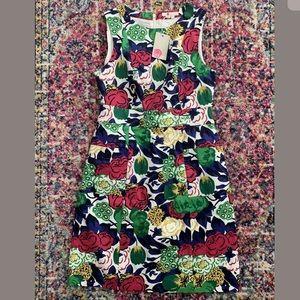 NWT Boden Blue Pink Floral Retro Pocket Dress 8 L